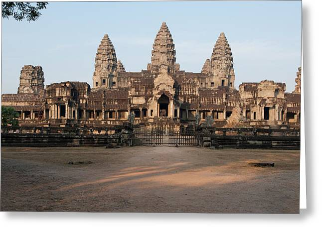 Facade Of A Temple, Angkor Wat, Angkor Greeting Card by Panoramic Images