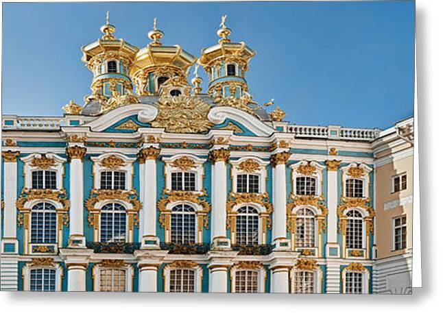 Facade Of Catherine Palace, Tsarskoye Greeting Card by Panoramic Images