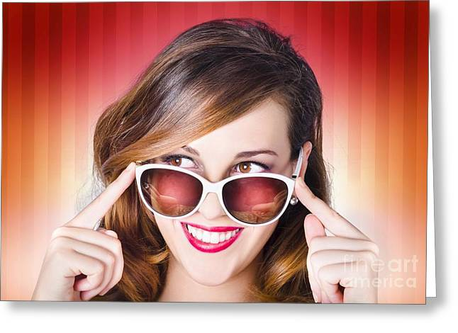 Face Of A Retro Pinup Girl In Trendy Sunglasses Greeting Card by Jorgo Photography - Wall Art Gallery