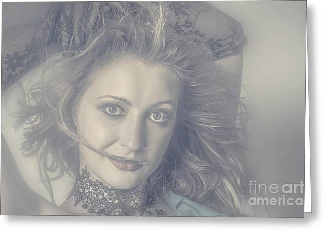 Face Of Beautiful Woman In Makeup Close-up Greeting Card by Jorgo Photography - Wall Art Gallery