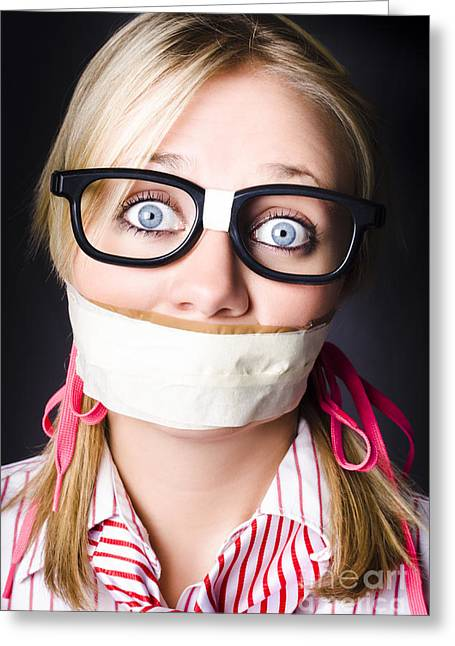 Face Of Nerdy Geek Gobsmacked By Silence Greeting Card by Jorgo Photography - Wall Art Gallery