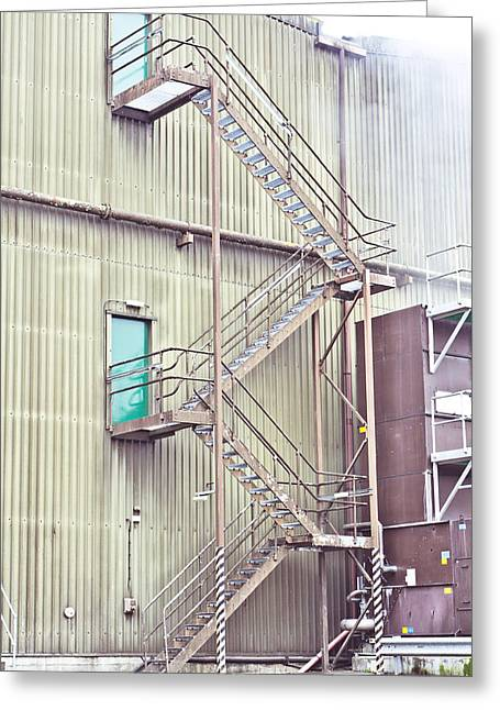 Factory Steps Greeting Card by Tom Gowanlock