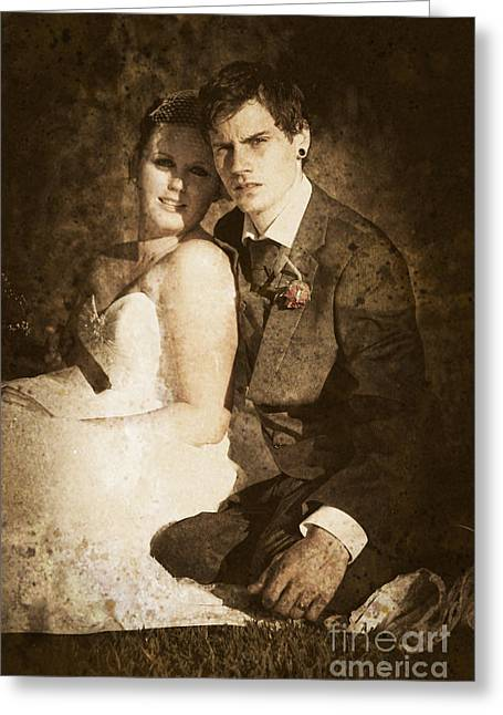 Faded Vintage Wedding Photograph Greeting Card by Jorgo Photography - Wall Art Gallery