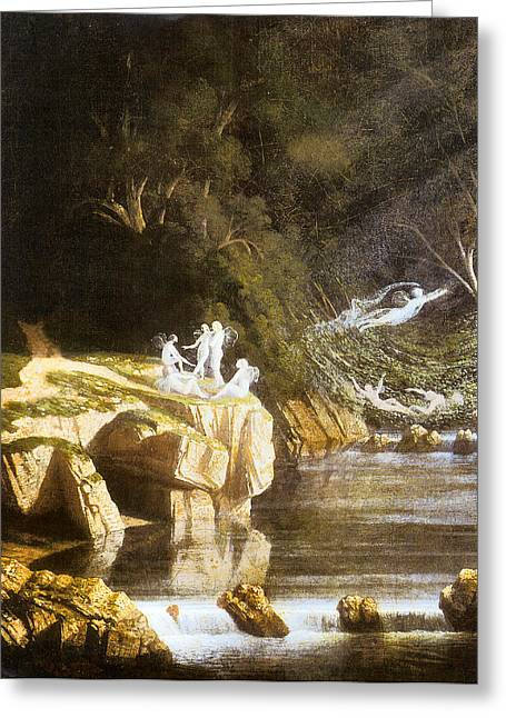 Fairies By A Rocky Stream Greeting Card