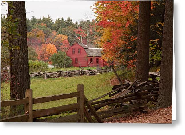Fall Foliage Over A Red Wooden Home At Sturbridge Village Greeting Card by Jeff Folger