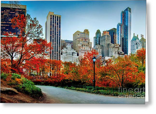 Fall In Central Park Greeting Card by Az Jackson