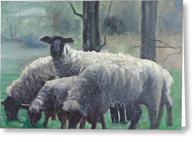 Greeting Card featuring the painting Family Of Sheep by John Reynolds