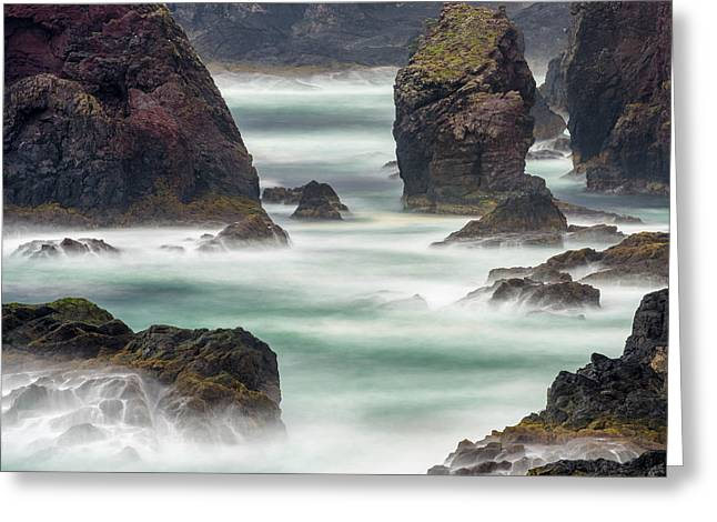 Famous Cliffs And Sea Stacks Of Esha Greeting Card by Martin Zwick