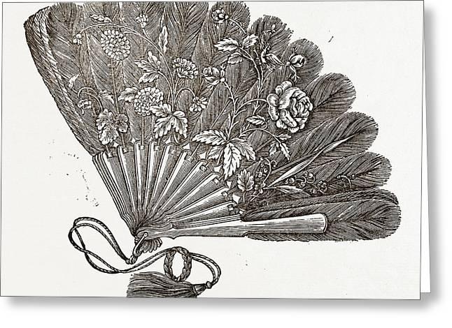 Fan For Evening Dress, Needlework Greeting Card