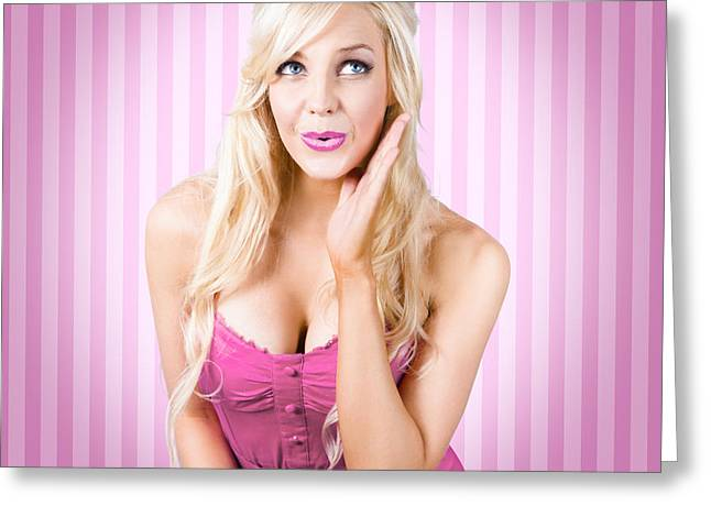 Fantastic Blond Pinup Girl With Surprised Look Greeting Card
