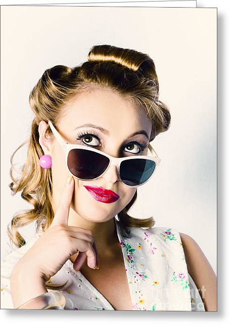 Fashion Girl In Beauty Makeup And Retro Hair Style Greeting Card by Jorgo Photography - Wall Art Gallery