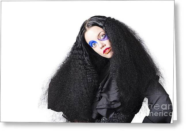 Fashion Model In Black Greeting Card by Jorgo Photography - Wall Art Gallery