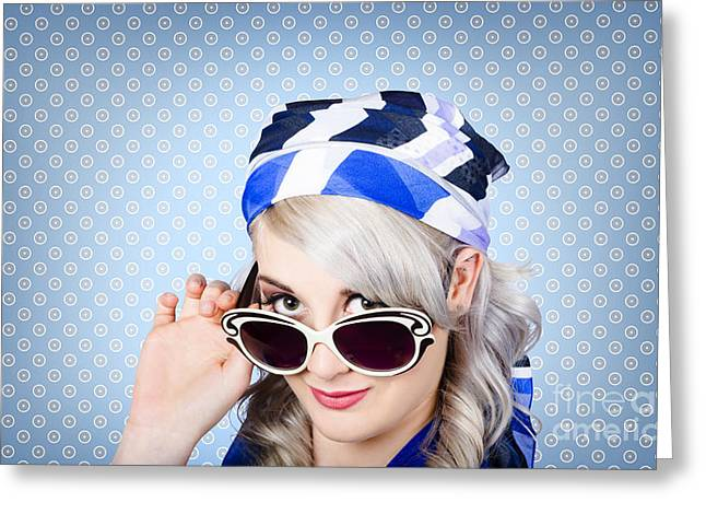 Fashion Portrait Of A Girl In Fifties Sunglasses Greeting Card