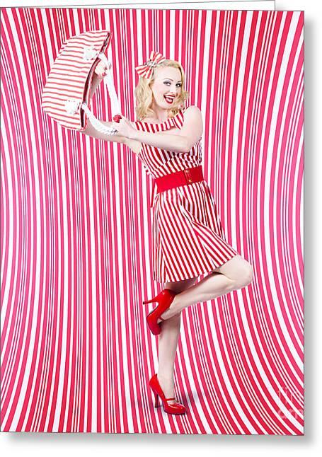 Fashion Shopping Woman. Stylish Retro Design Greeting Card by Jorgo Photography - Wall Art Gallery