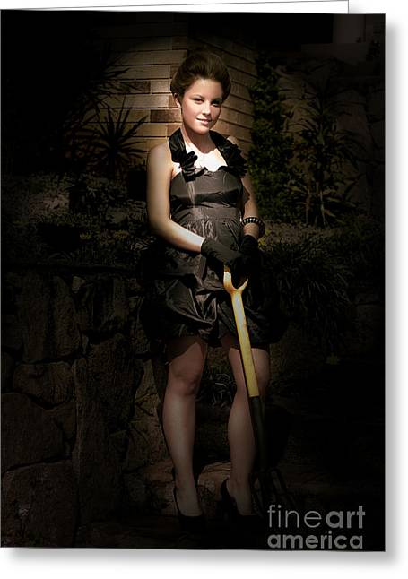 Fashionable Woman With Spade Greeting Card by Jorgo Photography - Wall Art Gallery