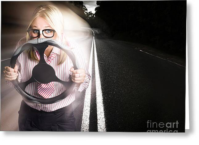 Fast Business Woman Driving Car With Light Trails Greeting Card by Jorgo Photography - Wall Art Gallery