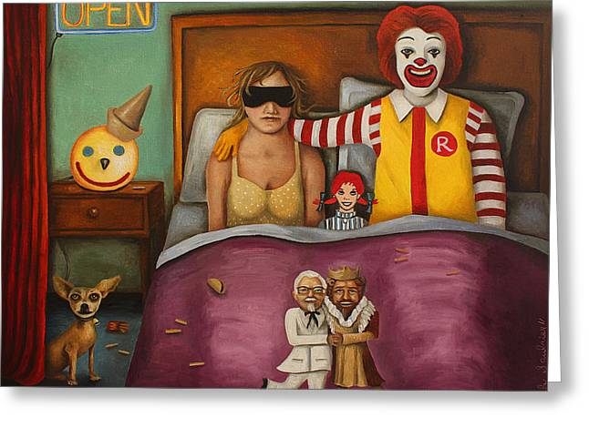 Fast Food Nightmare Greeting Card by Leah Saulnier The Painting Maniac