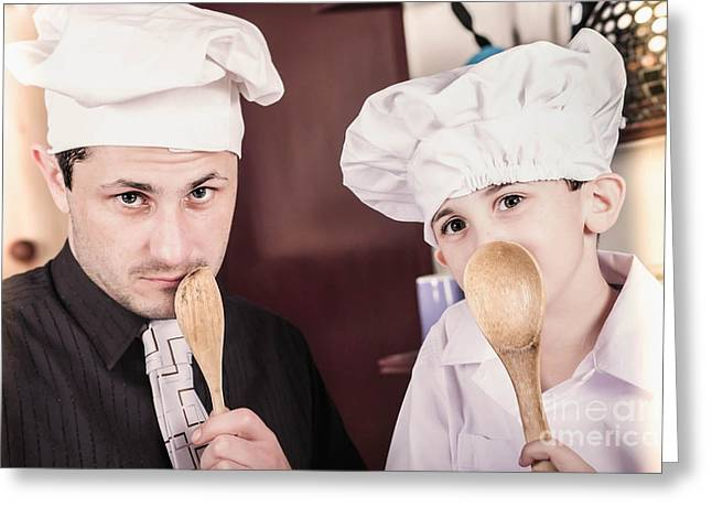 Father And Son Cooks With Family Secret Recipe Greeting Card