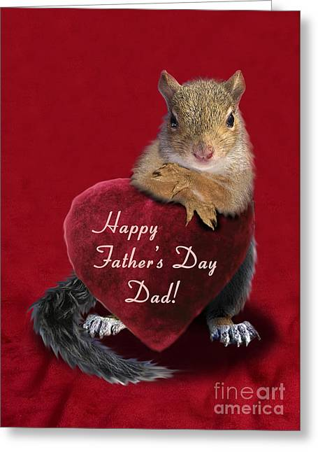 Father's Day Squirrel Greeting Card by Jeanette K