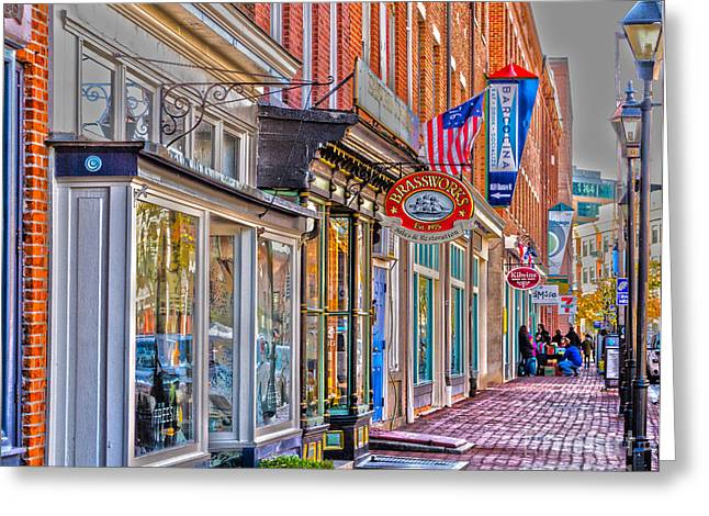 Greeting Card featuring the photograph Federal Hill Storefronts by William Norton