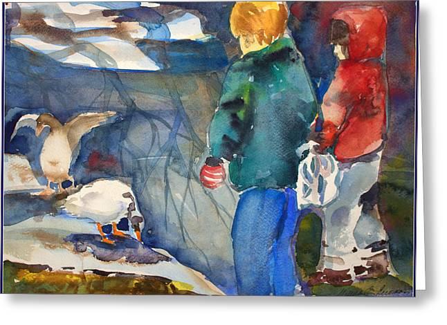 Feeding The Ducks Greeting Card by Mindy Newman