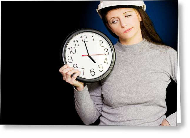 Female Architectural Engineer Watching Time Pass Greeting Card by Jorgo Photography - Wall Art Gallery
