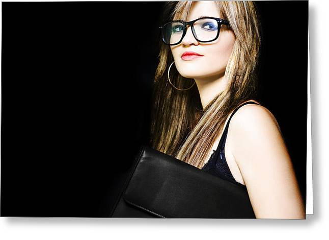Female Art Student Holding Portfolio Compendium Greeting Card by Jorgo Photography - Wall Art Gallery