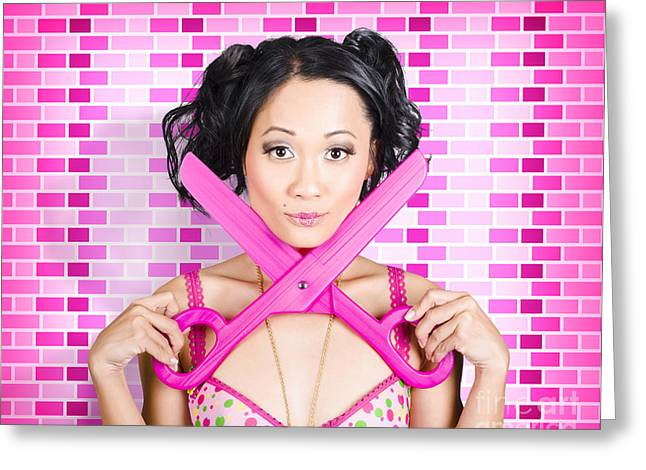 Female Barber Offering Cut Price Beard Trims Greeting Card by Jorgo Photography - Wall Art Gallery
