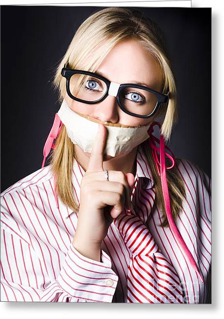 Female Business Nerd With Quiet Gesture Greeting Card by Jorgo Photography - Wall Art Gallery