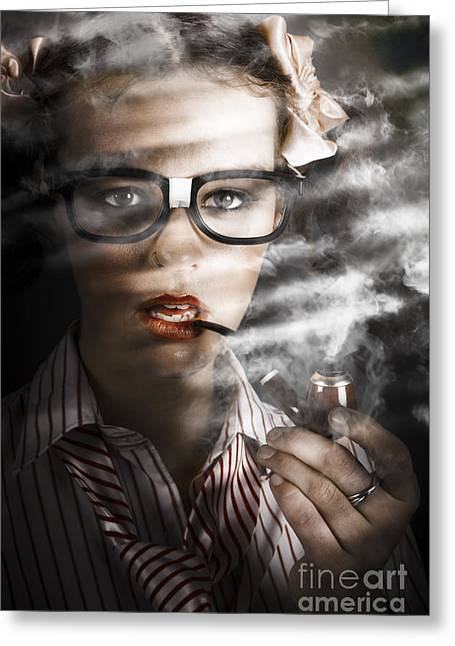 Female Business Spy With Smoke Near Window Blinds Greeting Card