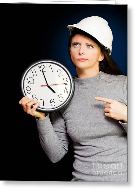 Female Construction Builder Pointing At Clock Greeting Card