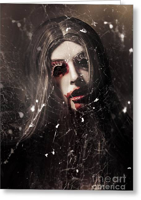 Female Face Of Dark Horror. Eye Of The Black Widow Greeting Card by Jorgo Photography - Wall Art Gallery