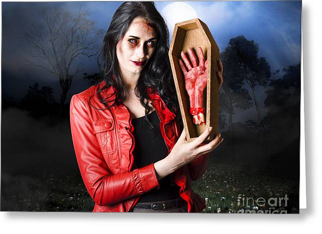 Female Grave Robber Stealing Limbs And Body Parts Greeting Card by Jorgo Photography - Wall Art Gallery