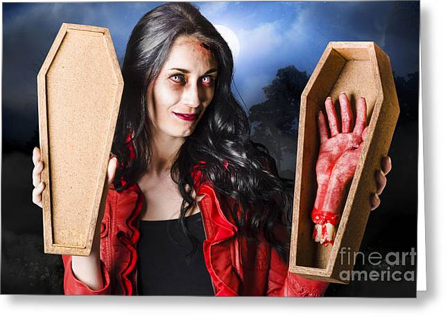 Female Halloween Zombie Holding Undead Hand Greeting Card