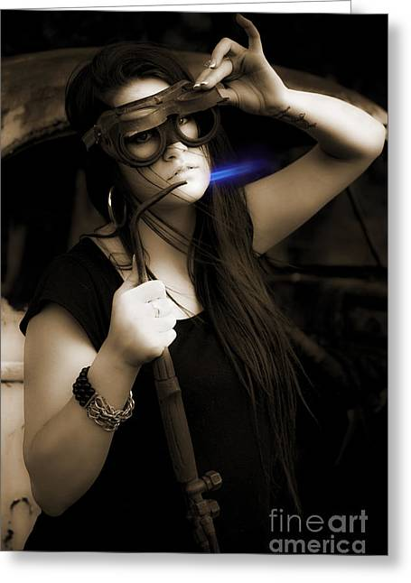 Female Mechanic Using Industrial Welder Greeting Card by Jorgo Photography - Wall Art Gallery