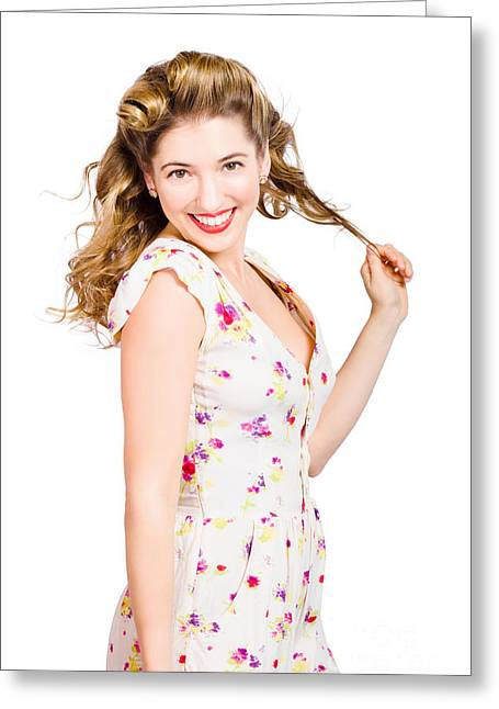 Female Model With Perfect Skin And Curly Hairstyle Greeting Card by Jorgo Photography - Wall Art Gallery