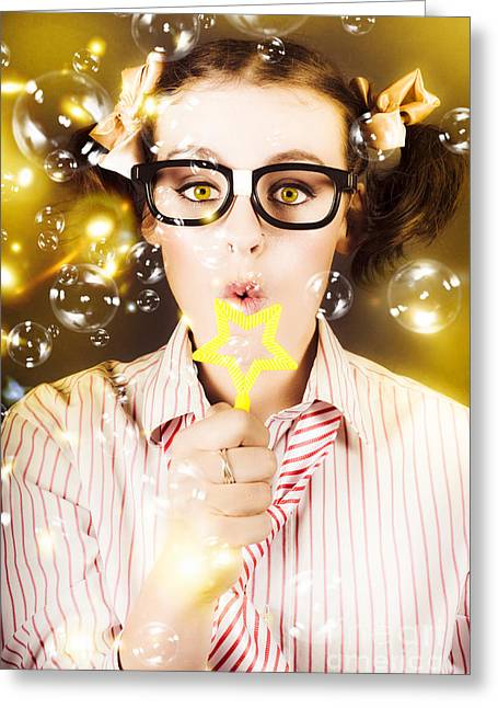 Female Nerd Blowing Bubbles Of Business Success Greeting Card by Jorgo Photography - Wall Art Gallery