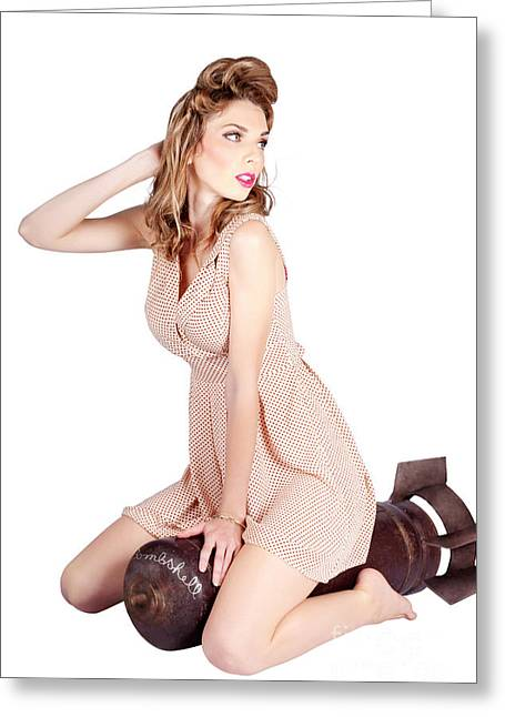 Female Pinup Bombshell On 50s Military War Missile Greeting Card by Jorgo Photography - Wall Art Gallery