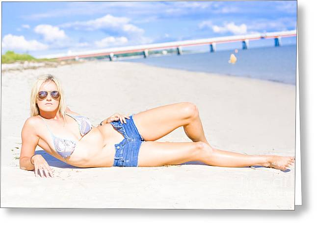 Female Vacationer Relaxing At Tropical Paradise Greeting Card by Jorgo Photography - Wall Art Gallery