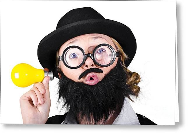 Female With A Funny Face Holding Light Bulb Greeting Card by Jorgo Photography - Wall Art Gallery