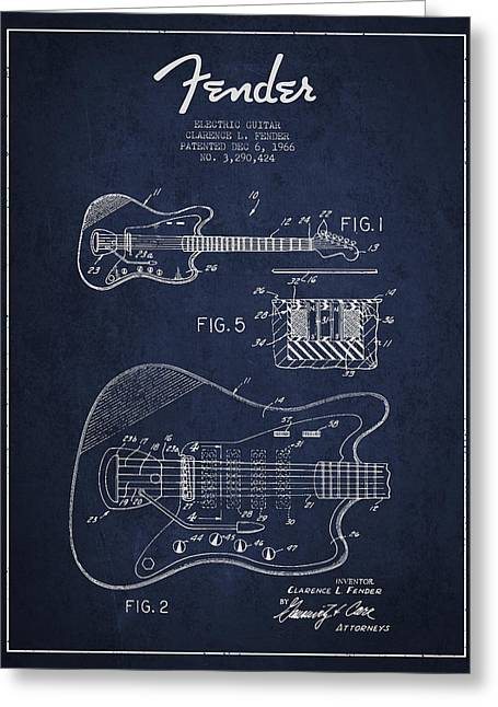 Fender Electric Guitar Patent Drawing From 1966 Greeting Card by Aged Pixel