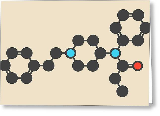 Fentanyl Opioid Analgesic Drug Molecule Greeting Card