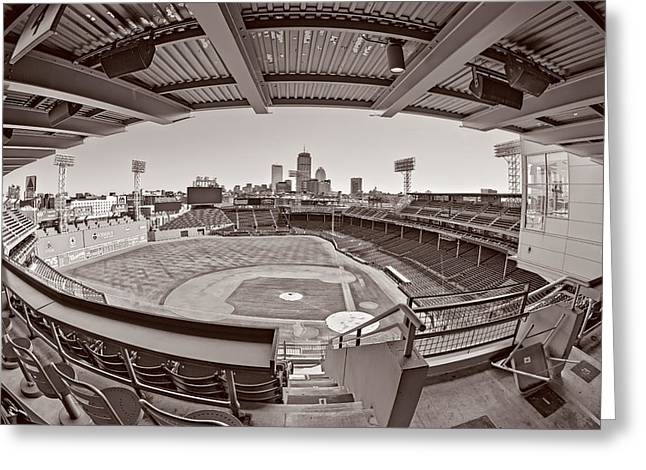 Fenway Park And Boston Skyline Greeting Card by Susan Candelario