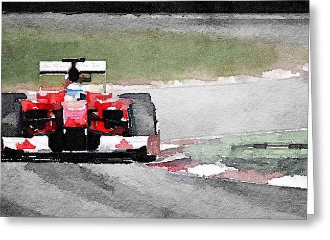 Ferrari F1 Race Watercolor Greeting Card