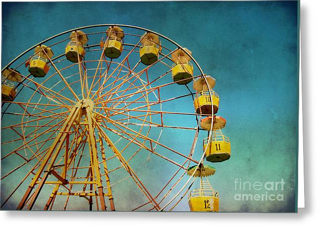 Greeting Card featuring the photograph Ferris Wheel With Grunge Effect by Mohamed Elkhamisy