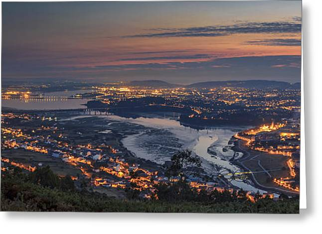 Ferrol's Ria Panorama From Mount Ancos Galicia Spain Greeting Card