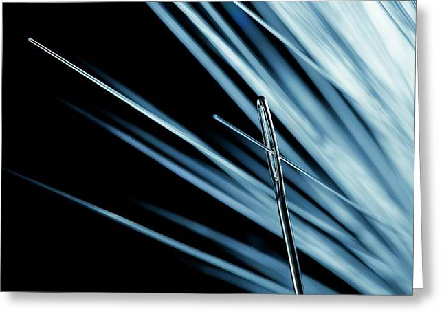 Fibre Optic And Needle Greeting Card by Science Photo Library