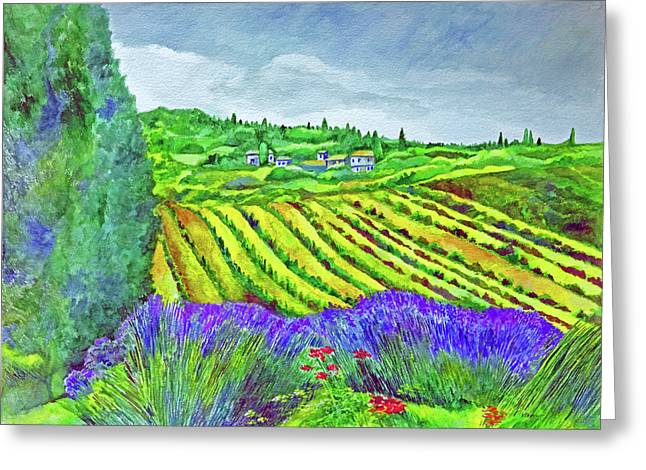 Fields At Dievole Greeting Card