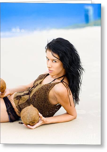 Fierce Beach Babe Greeting Card by Jorgo Photography - Wall Art Gallery