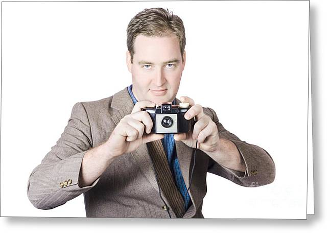 Fifties Crime Scene Photographer Taking Picture Greeting Card by Jorgo Photography - Wall Art Gallery